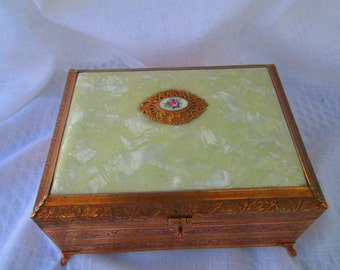 Beautiful Vintage Brass decorative jewelry box with pearlescent plastic top.