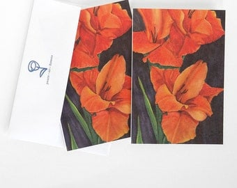 orange gladiolus flower card set, flower invitations, watercolor art print cards, botanical stationery