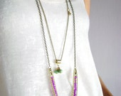 Multi layered necklace turquoise gold violet two long boho chic bohemian style jewelry necklaces multi strand necklace