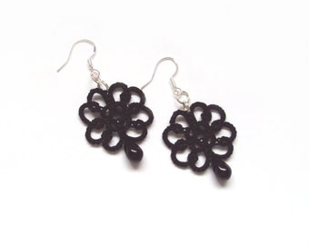 Tatted Lace Earrings in Black - Goth Jewelry - Christina