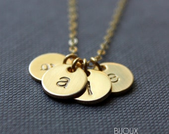 Initial Disc Gold Necklace - FOUR Discs Necklace - 14K Goldfilled / Choose your Initials