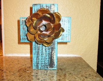 Wall Cross Wood with Rusty Rose Iron- FREE USA SHIPPING -  Antique Turquoise Color,  Original, Rustic, Elegant, Old World, Hacienda