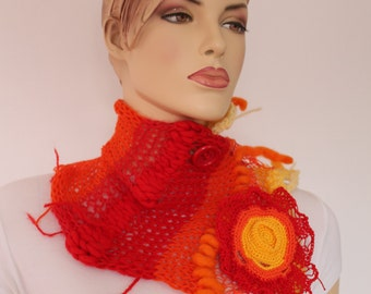 SALE Dance into the Fire - Unique  Freeform Crochet Knitting  Scarf / Textured Scarf  / Fiber Art / OOAK /  Bohemian Scarf