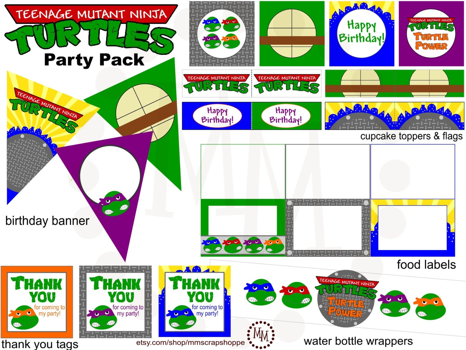 Teenage Mutant Ninja Turtles Printable Party Pack By