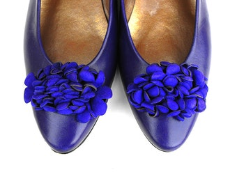 80s Indigo Violet Proxy Pumps Retro Chic Royal Pansy Purple Floral Ballet Flats Vintage Flower Suede Blossom Leather Ladies Glam Dress Shoes