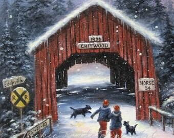 Snow Covered Bridge Art Print snowscene two children black dogs paintings winter snow Oregon Chitwood covered bridge art, Vickie Wade Art