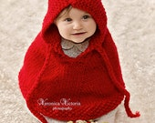 Little Red Riding Hood Wool Halloween costume. Knit baby poncho Baby cape Children clothing  Newborn to 18 months Baby Shower gift under 50