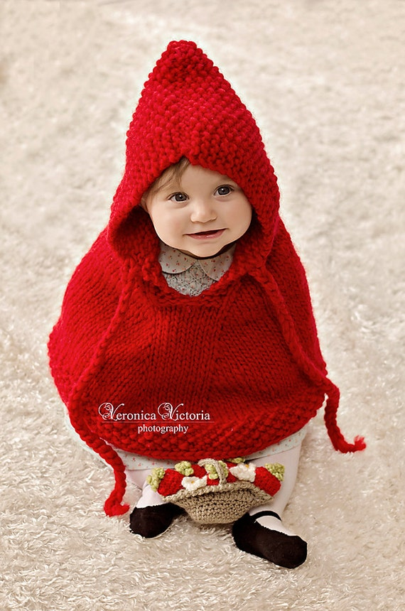 Knitted Baby Poncho Hood Pattern : Red baby poncho. Little Red Riding Hood. Toddler by ChickSale