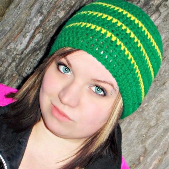Zac Brown Band Style Crocheted Beanie- Unisex, Green Bay, John Deer, Yellow, Green