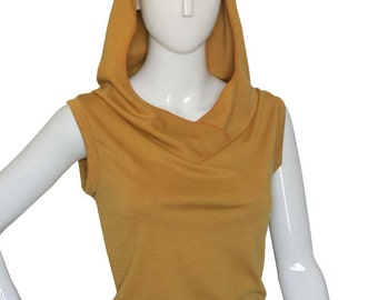 Mustard yellow hoodie top, Plus size top, Plus size hoodie, Custom sleeveless hoodie, V neck vest, Handmade womens clothing, Yellow top