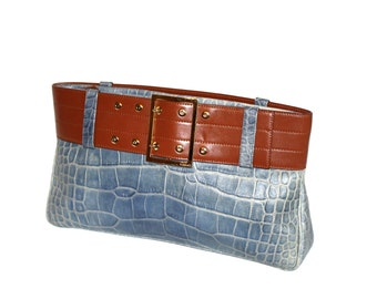 GIANNI VERSACE Vintage Clutch Handbag Blue Brown Leather Belt - AUTHENTIC -