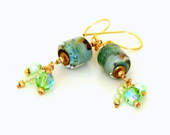 Spring Green Glass Bead Earrings. Moss Green Lampwork Bead Earrings. Long Dangle Earrings. Glass Bead Jewelry.