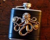 Flask - brass octopus on black leather (3 oz), steampunk pirate hipster goth groomsman wedding