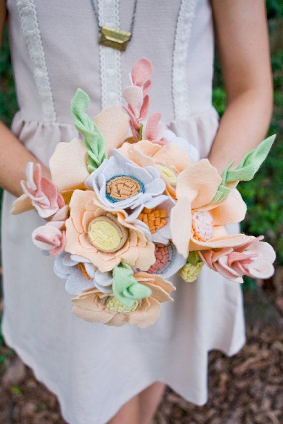 Items similar to Peach Wildflower Bouquet - Wedding Bouquet - Felt ...