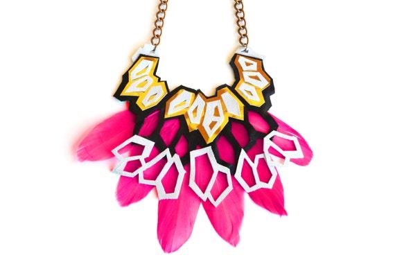 Geometric Statement Necklace, Hexagon Metallic Leather Necklace, Feather Bib Necklace, Chunky Statement Jewelry