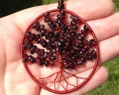 Tree of Life - Pendant - Wire Wrapped - Color Enameled Copper Wire - Stone Beads - Tumbled Garnet Beads - Jewelry - Red
