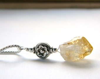 Sale/Reduced Yellow Citrine Crystal Point Sterling Silver Necklace. Flower. gift for her. Made in Maine. Regal. Statement