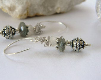 Labradorite Moonstone gemstone earrings. Handformed Sterling Silver Earwires. Made in Maine. Boutique qualtiy. wire wrap. Organic. Bohemian