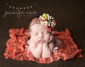 Gravy, Baby- Crimson, ivory, brown orange, mustard and green rosette fall inspired headband with lace
