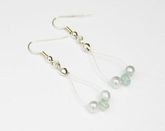 "Aquamarine and silver pearl earrings ""Baby's Breath"""
