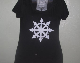 Chaos Shirt - White on Black Fitted Tshirt, Small or XS - boat neck chaos symbol, anarchy magic unisex women punk anarchist arrows