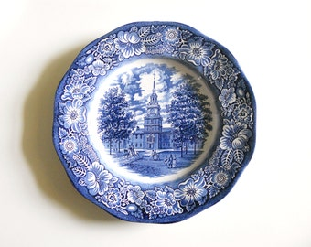 Vintage Liberty Blue Independence Hall Staffordshire Ironstone Collector Plate
