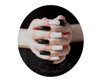 Piano Nail Art PDF Tutorial DIY Kit w/ Black White Long Square Style Nail Art Blanks length nails full coverage fake fingernail tips glue