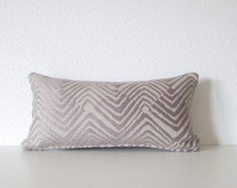 Pillow cover -Zig Zag - Lilac purple beige - 8x16 - mini lumbar pillow cover