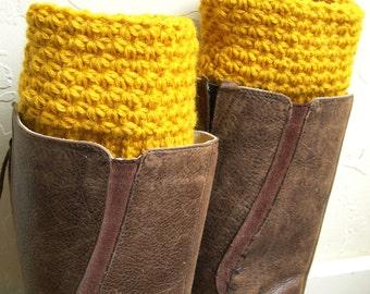 Mustard Boot cuffs - Mustard Crochet Boot Toppers - Golden Yellow Leg Warmers - Winter Fashion 2016 - wool legwarmers