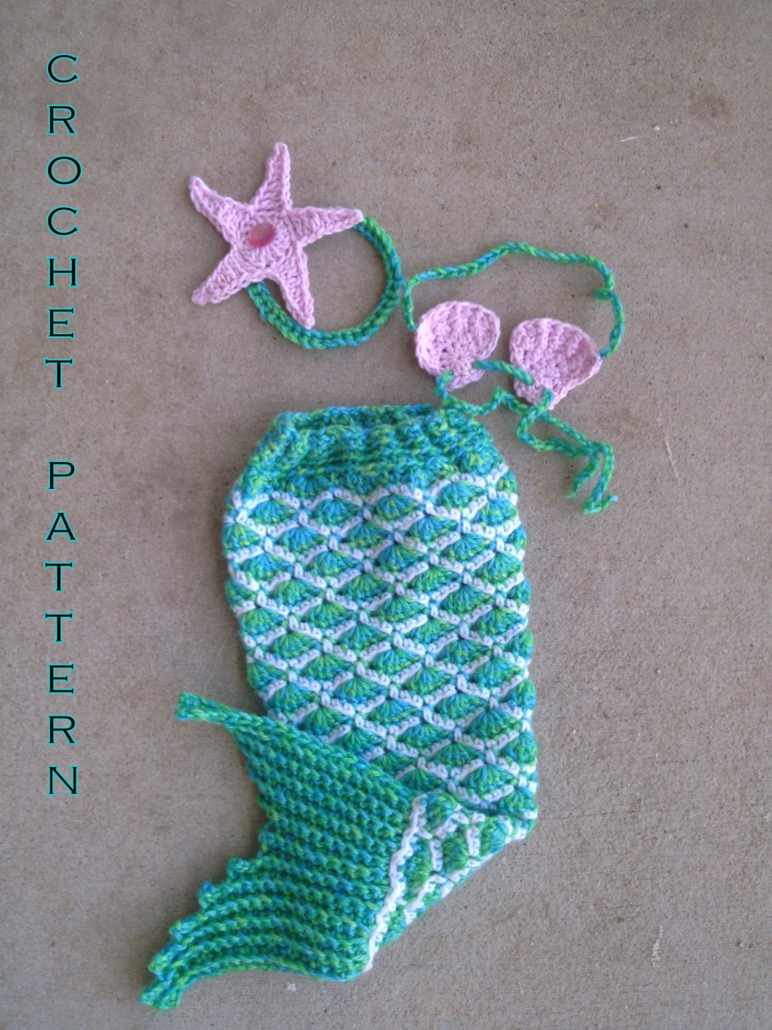 Crochet Baby Outfit Pattern : Crochet Pattern PDF Baby Mermaid Outfit Newborn Photo Prop