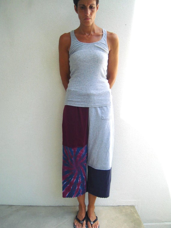 T Shirt Cropped Pants / Capris / S - M / Blue Gray Burgundy / Upcycled / Recycled / Soft / Cotton / Fun / tagt / tagt team / by ohzie