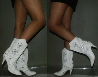 Reserved for nadine borg vintage 80s rocker boots size 6.5 white leather jewel studs