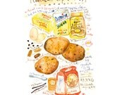 Chocolate chip cookie recipe print, Kitchen art, 8X10 print, Bakery poster, Kitchen decor, Watercolor cookie painting, Cake art, Food art