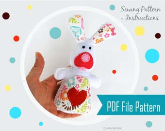 Easter Rabbit Sewing Pattern, PDF Sewing Pattern.Felt bunny Plush Toy  Instant Download A801