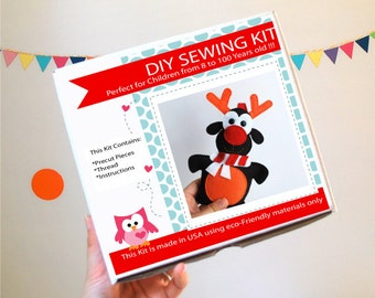 Christmas Reindeer Sewing Kit, Felt Kids' Crafts, Felt Sewing Kit in a Box, 8+ years old craft, No need sewing machine, READY TO SHIP A823