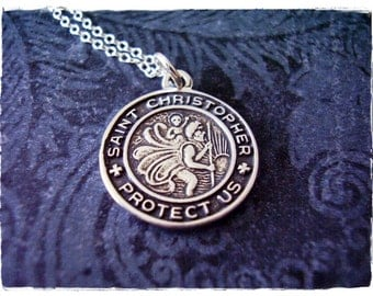 Round St Christopher Protect Us Medallion Necklace - Sterling Silver St Christopher Charm on a Sterling Silver Cable Chain or Charm Only