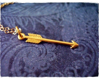 Small Gold Arrow Necklace - Matte 24kt Gold Plate Arrow Charm on a Delicate 14kt Gold Filled Cable Chain or Charm Only