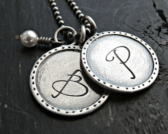 Personalized Initial Necklace - Artisan Initial Personalized Necklace - Two Hand Stamped Charms - Custom Necklace - Personalized Jewelry