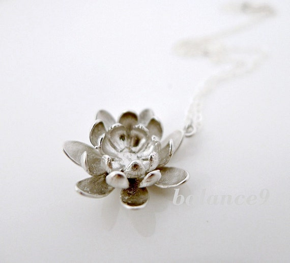 Lotus flower necklace, dainty necklace, sterling silver chain, delicate charm, bridesmaid gift, everyday jeweley, by balance9