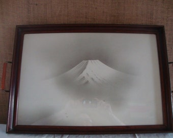 VINTAGE Mountain Silhouette Print Wood Serving Tray or Wall Piece Cherry Wood Tray Glass Top Tray Photo Print Antique Art Tray Serving Tray