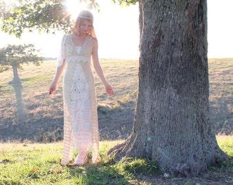Handmade Eco Wedding Dress in Vintage Cotton Lace Doilies Unique Bohemian Hippie Chic Style OOAK S M L