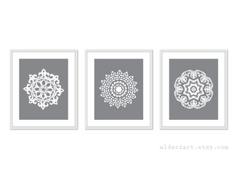 Mandala Art Prints - No. 2 - Modern Medallion Wall Art - Geometric Home Decor - Grey - Mandala Wall Art - Mandala Print - Mandala Decor
