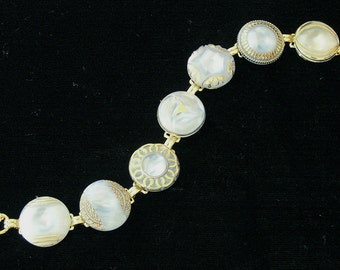 1950s Blue Glass Button Bracelet