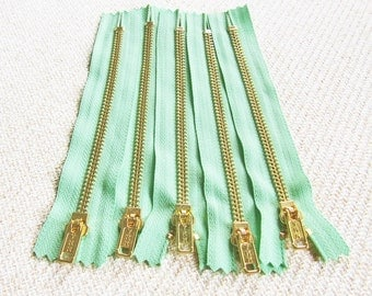 6inch - Mint Green Metal Zipper - Gold Teeth - 5pcs