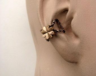Lucky clover ear cuff