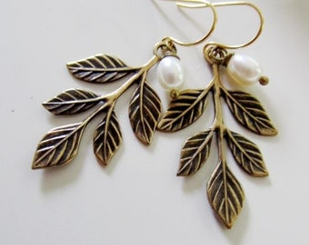 Leaf Earrings, Antique Brass, Pearl Drop, Woodland, Boho Style, Nature, Fall Leaves, Gardendiva