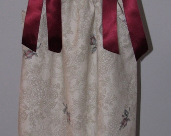 Vintage Victorian print Pillowcase Dress sz 4 5 6 Handmade Ivory Lace Print Burgundy Roses