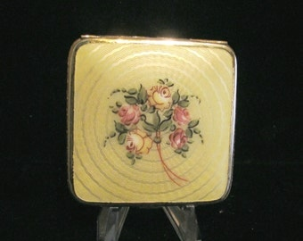 1930s Bliss Brothers Compact Guilloche 24kt Gold Plated Powder Rouge & Mirror Compact