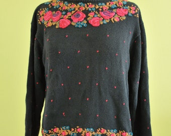 Embroidered Cabbage Rose Granny Sweater  Sz S // 1980s // Floral Kitschy