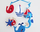 """Baby Mobile - Sea Horse and crab Crib Mobile - Handmade Nursery Mobile - """"Navy and Red Whales and Crab"""" (Match your bedding)"""